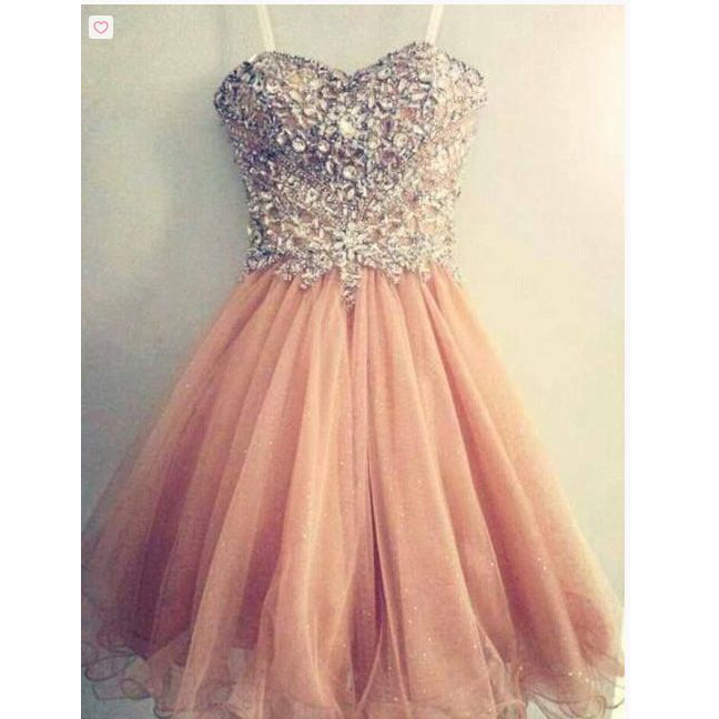 ffdf7926e1c Short Beads and Tulle Prom Gowns Homecoming Dresses pst0132 ...