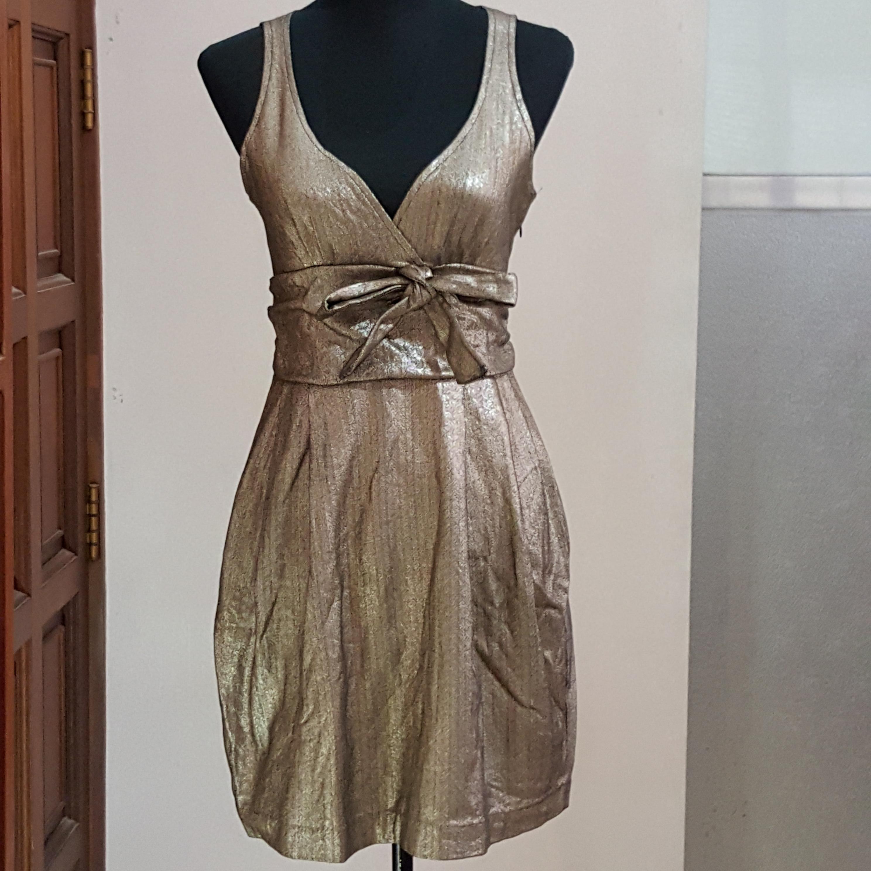 6b72b390 Stunning Gold Sexy Sleeveless ZARA Collection Party Ribbon Mini Dress