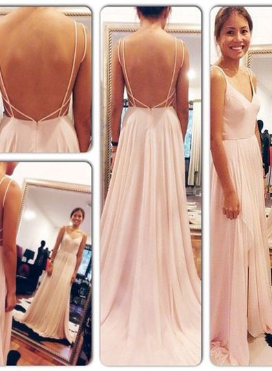 fa9502ffd016 Sexy Backless Sleeveless Spaghetti Straps V Neck Pink Open Back Chiffon  Long prom dress,sexy