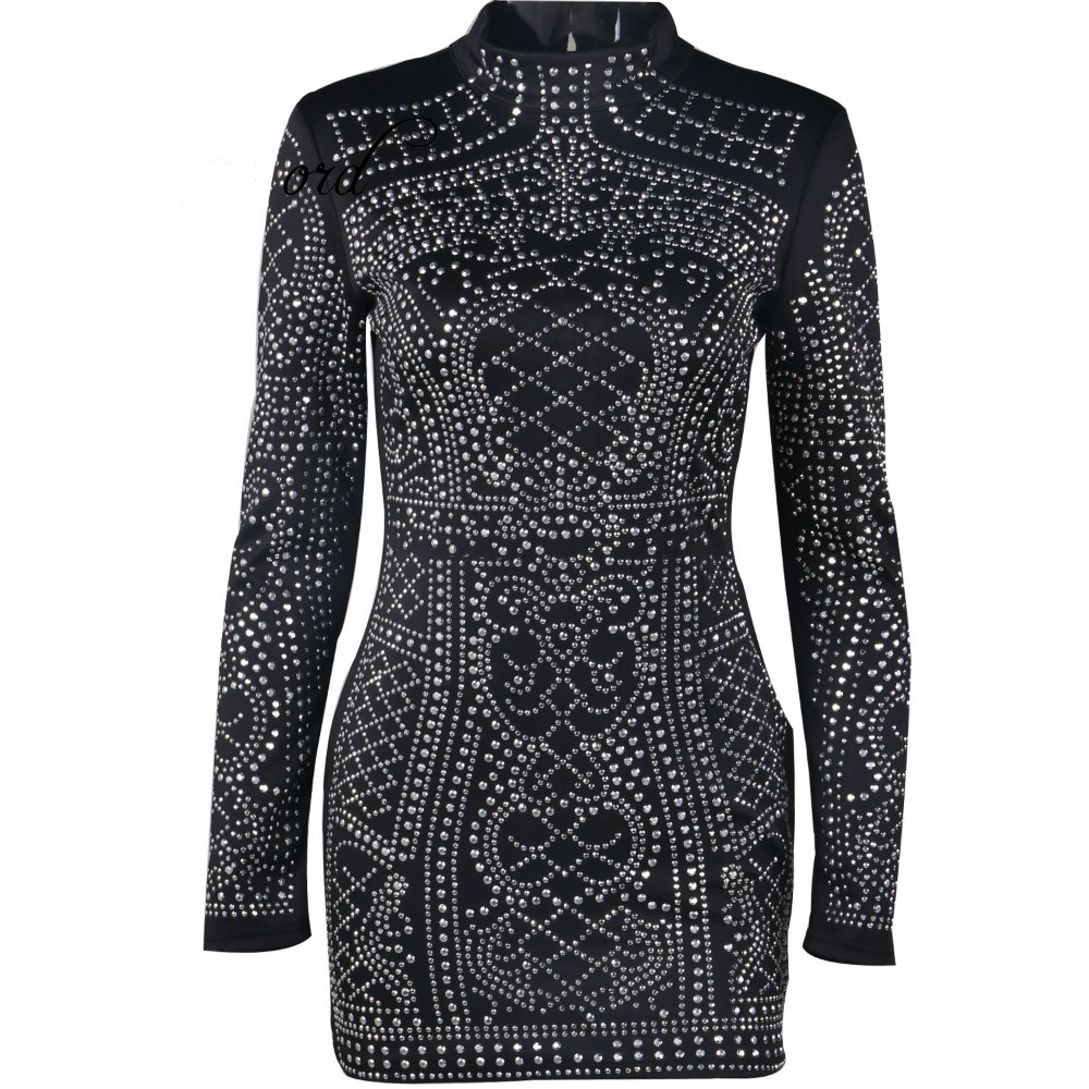 66a14d6e9e Fitted Geometric Studded Dress Black Long Sleeves Party Dress ...
