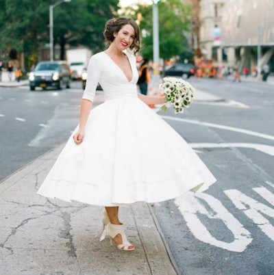 Short Tea Length Wedding Dresses,Cheap With Deep V Neck Half Sleeves Ball  Gown Vintage Bridal Dress Gowns Plus Size,PD160489 from MakerDress