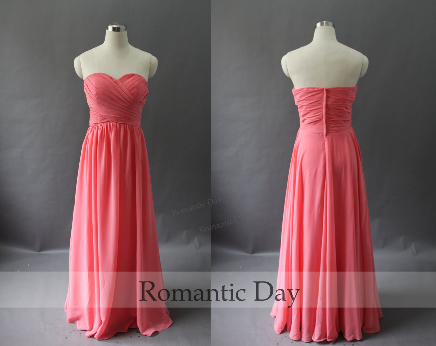 2015 Sweetheart A-Line Long Chiffon Mint Green/Coral Bridesmaid  Dresses/Long Prom Dress/Summer Beach Dress/Plus Size Maxi Dress 0054 sold  by Romantic ...