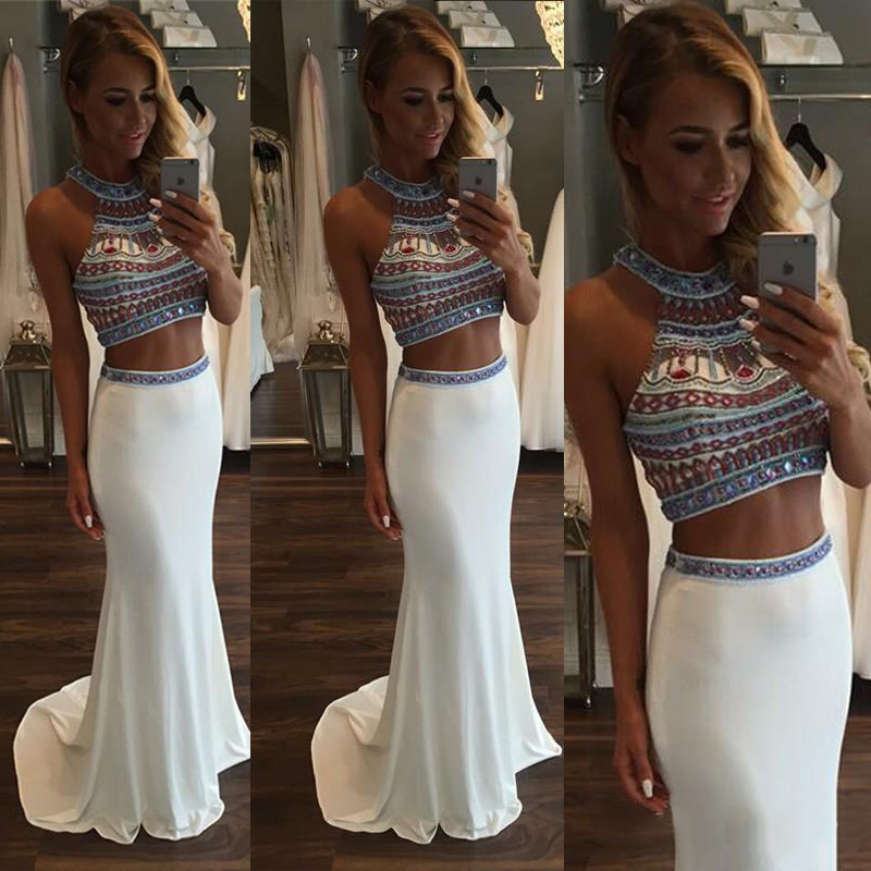 0d940099dd77ee Two piece beaded chiffon prom crop top and skirt white prom dresses with  gemstones sleeveless halter