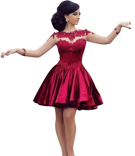 cf3ef168b966 Burgundy Short Prom Dress Ball Gown High Neckline With Long Sleeves Lace  Dark Wine Red Mini