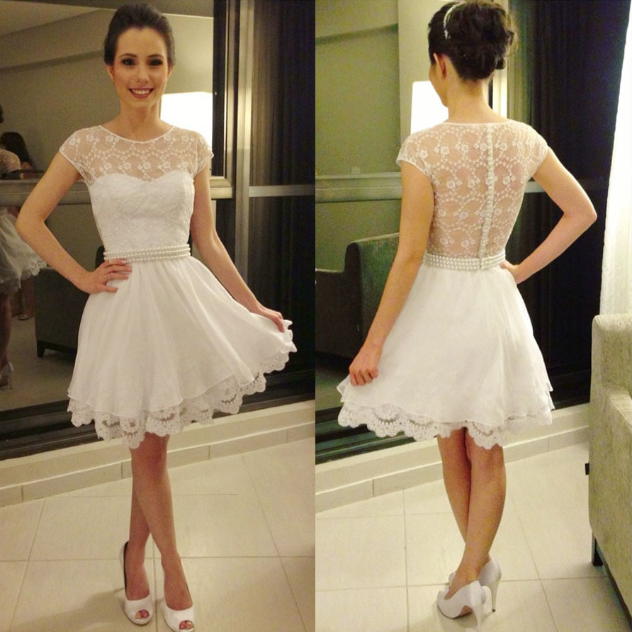 90c078e246 Cap Sleeve White Prom Dresses with Pearl Beaded Belt, Girly See-through  lace Prom