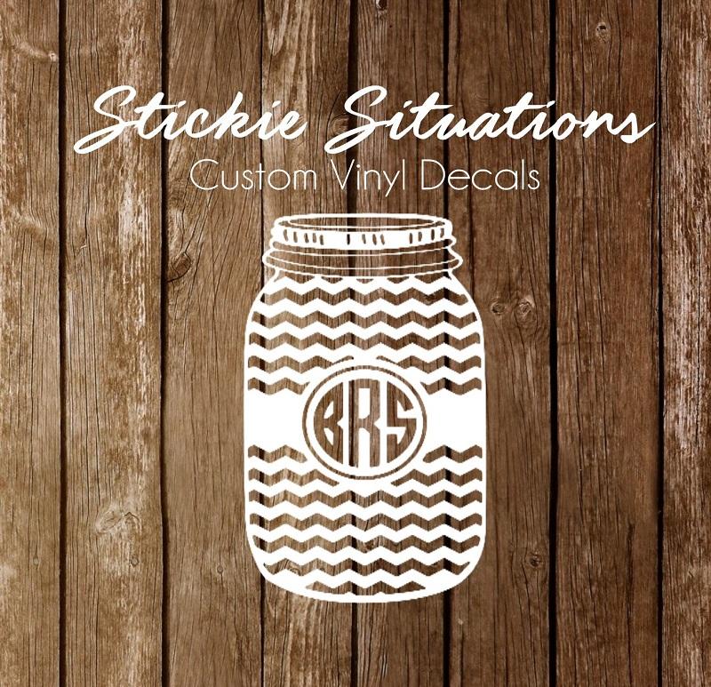 chevron monogram mason jar decal stickie situations online store