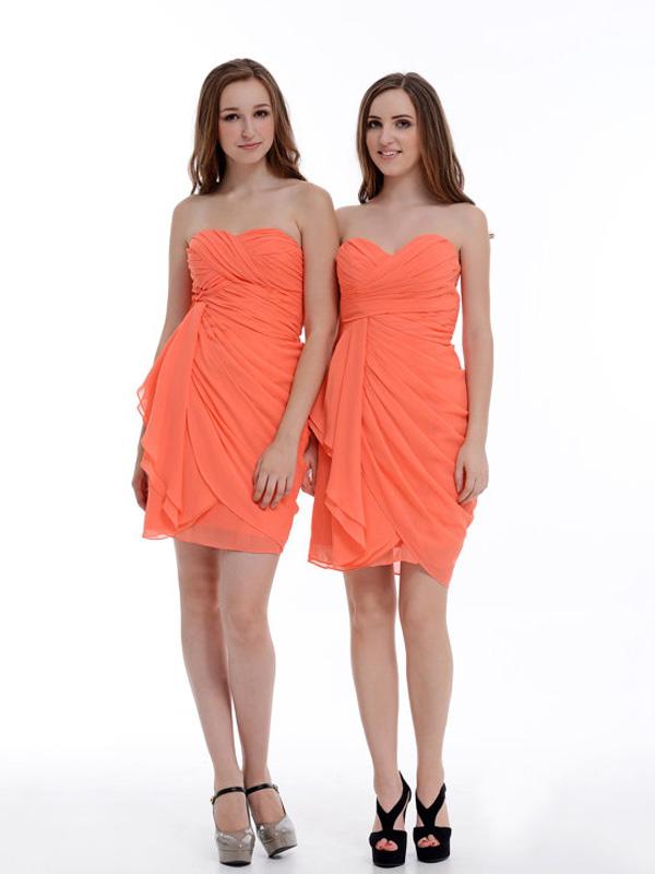 9f26c9df3363 New Fashion Sweetheart Short Mini Orange Chiffon Bridesmaid Dresses 2016,Bridesmaid  Dress LB06 - Thumbnail ...