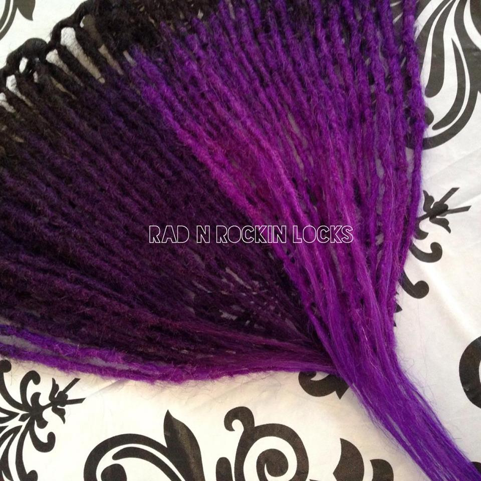 42pcs Full Set 20 Human Hair Dreadlock Extensions Black Violet