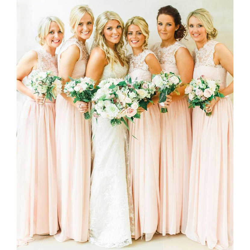 Pastel Colored Wedding Gowns: Pearl Pink Chiffon Bridesmaid Dresses With Soft Pleats
