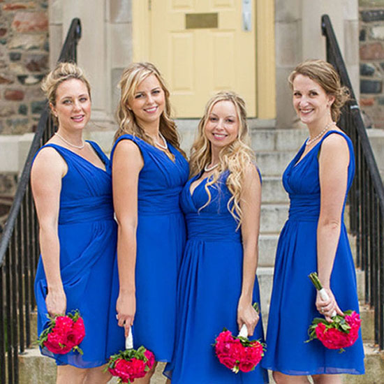 eb49ee0e81f4 Royal Blue V-neck Bridesmaid Dresses, Short Chiffon Bridesmaid Dress with  Ruching Detail,