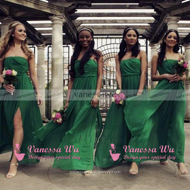 a0efe2fc8a Strapless Emerald Bridesmaid Dress with Side Slit