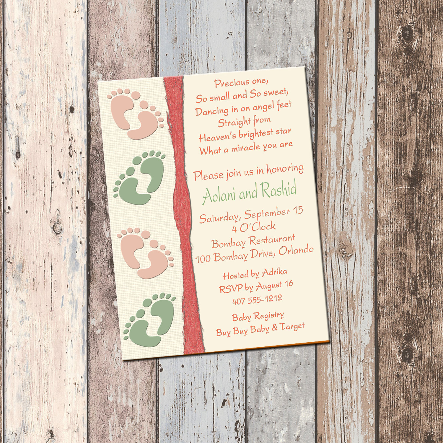 Baby Feet Couples Baby Shower Invitation 1 Sided Scg Designs