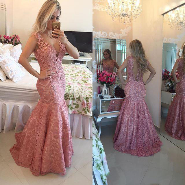 Gorgeous Pink Lace Prom Dresses 985c32943ff7