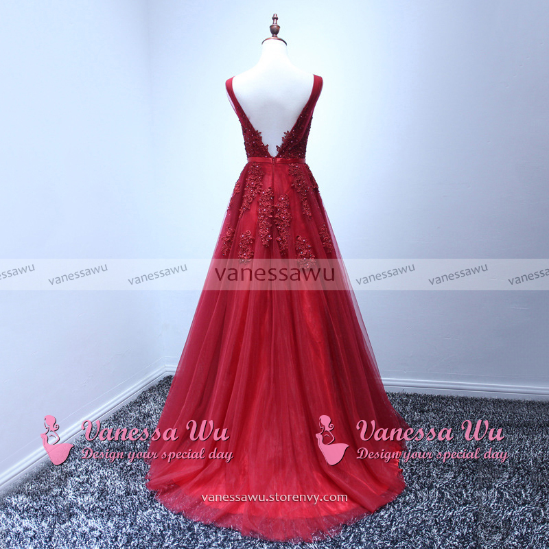 44a069afc114 Hot Burgundy Prom Dresses, Princess V-neck Prom Dresses, Sexy Backless Ball  Gown ...