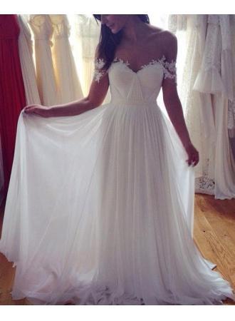Simple Elegant Off Shoulder Beach Wedding Dresses 2017