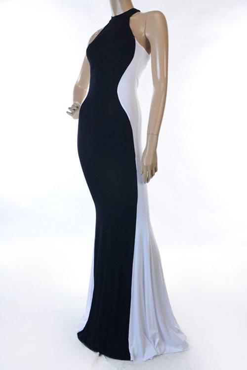 Plus Size Maxi Dress - Black/White