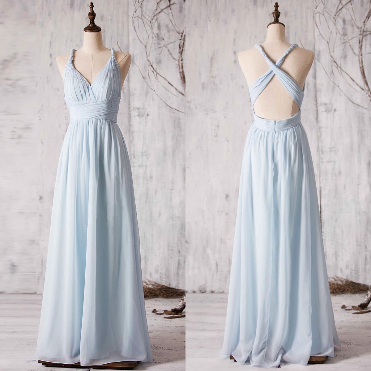 aaaf6508ca1 V-neck Chiffon Bridesmaid Dress with Crisscross Back