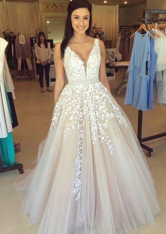 be4b16b67f6 Long prom dress, lace prom dress, prom dress with applique, popular prom  dress, off shoulder prom dress, v-neck prom dress, evening dress, PD15107