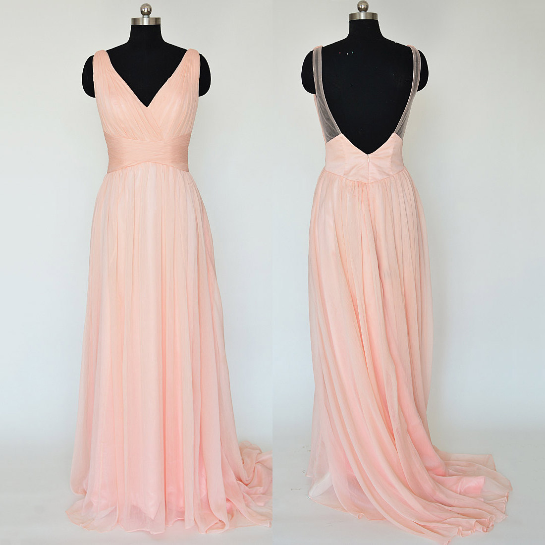 Pink Long Chiffon Bridesmaid Dresses, V-neck Bridesmaid Gowns, Sexy ...