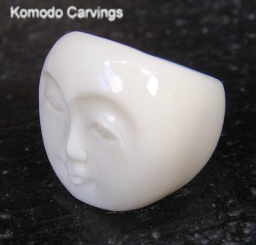 Hand Carved Ox Bone Moon Face Ring Unisex Sold By Komodo Carvings On Storenvy