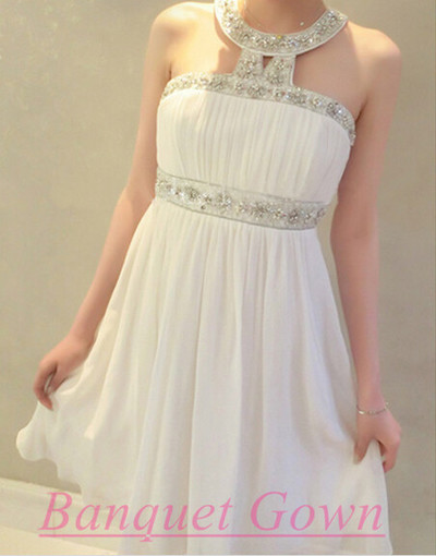 Lovely Chiffon Short Party Dress,Sparkle Homecoming Dress,White ...