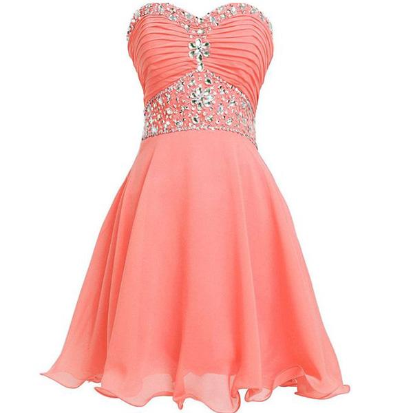 51da4dab5504 Sweetheart A-line Charming Short Coral Homecoming dress,short prom dress  2016,FS1725