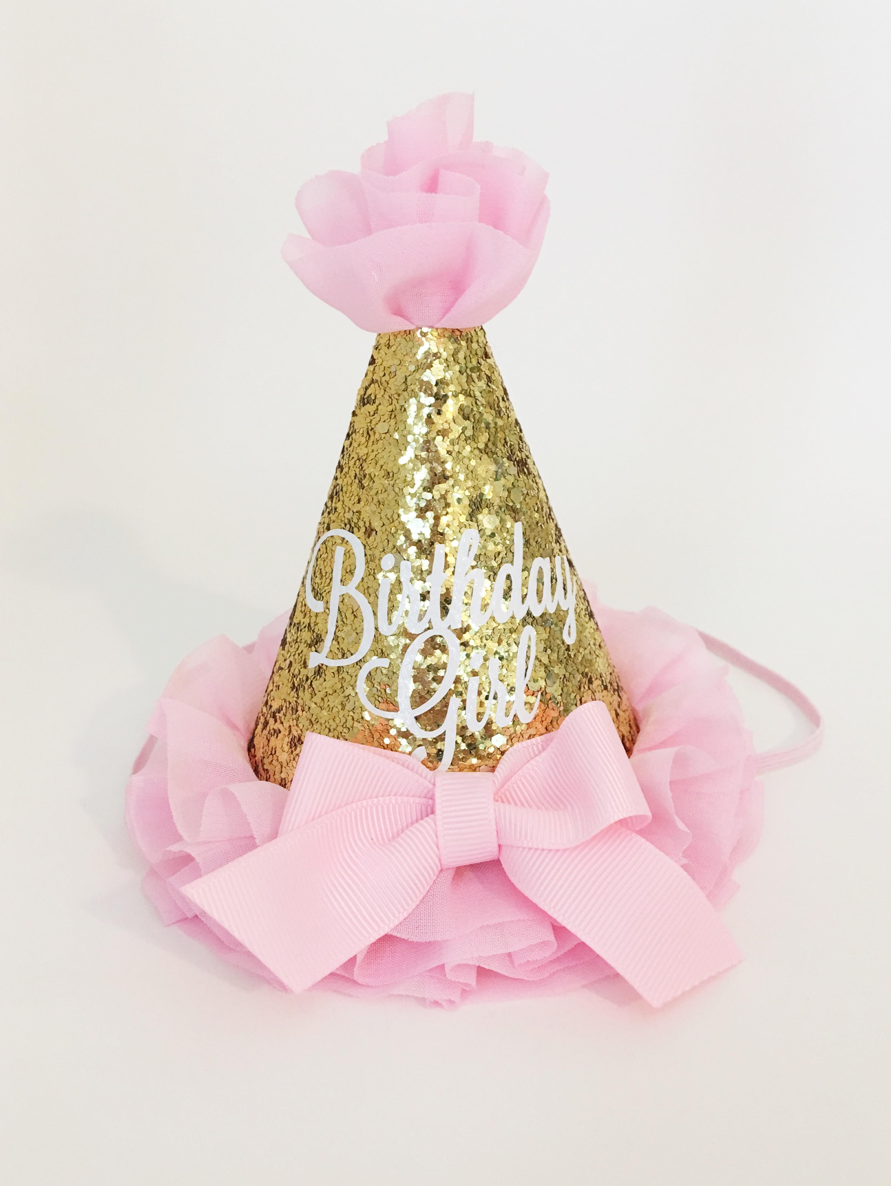 1st Birthday Hat Girl Glitter Gold Pink Party Smash Cake