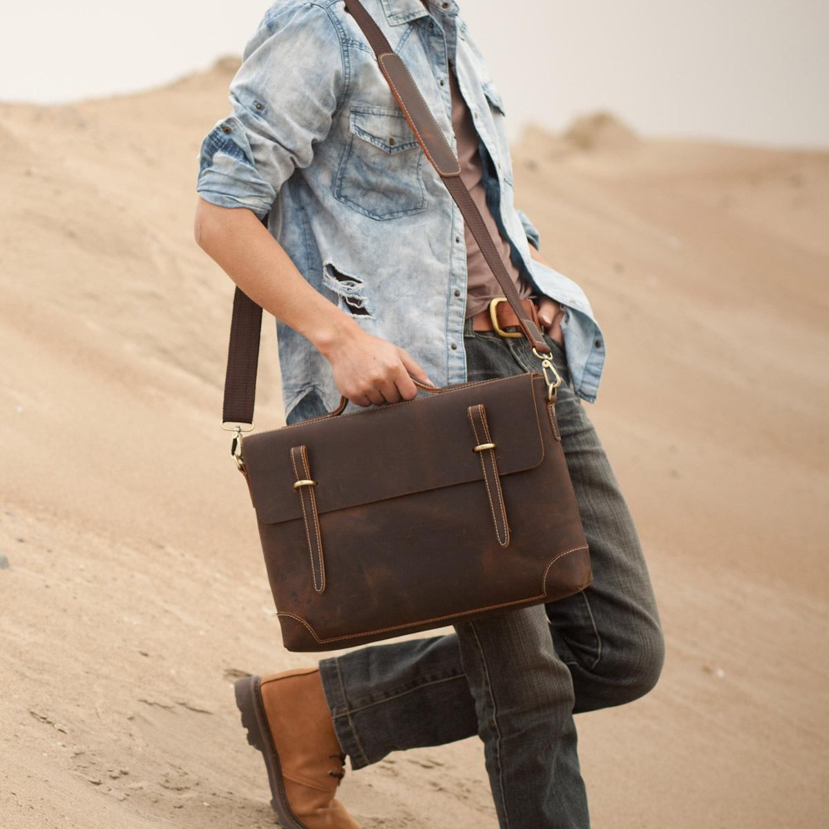 954977ac3f Men s Handmade Vintage Leather Briefcase   Leather Messenger Bag ...