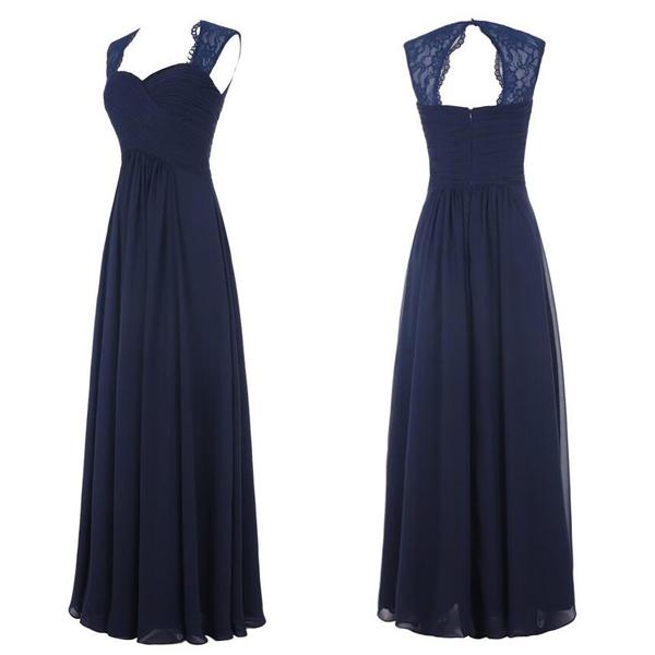 f311bbffea9 Navy Blue Chiffon Long Bridesmaid Dresses with Lace