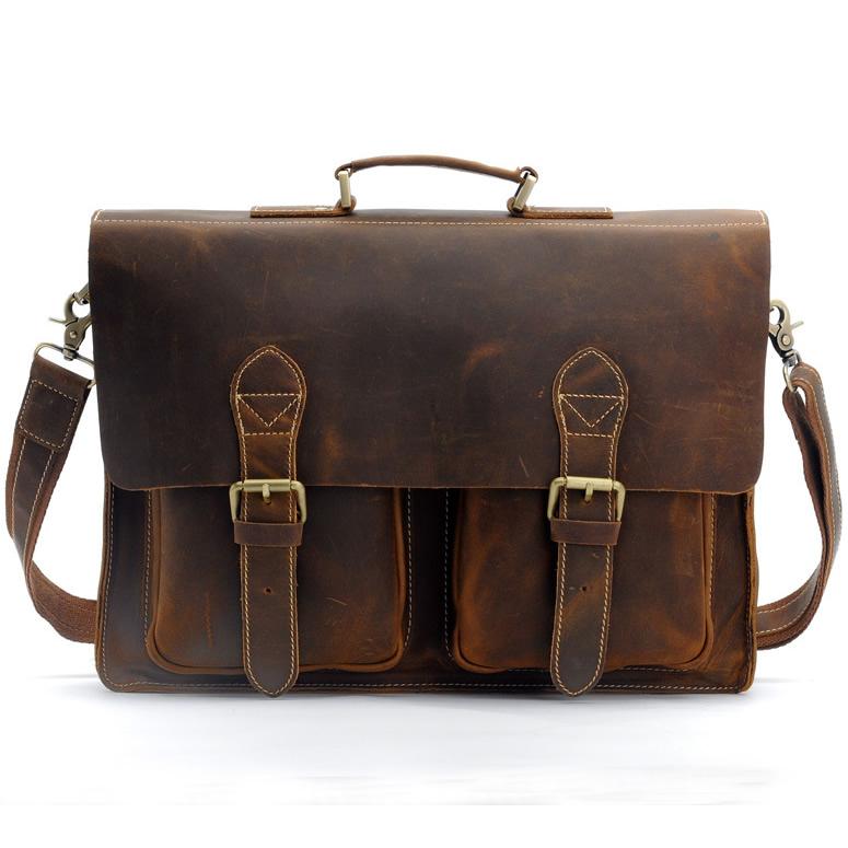 18a9e2b836d7 Men's Handmade Vintage Leather Briefcase / Leather Messenger Bag / 13