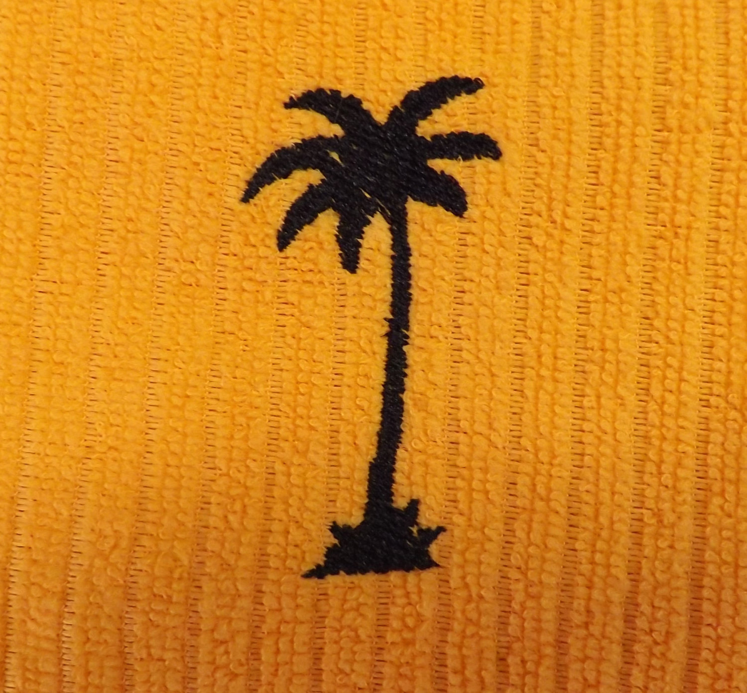 Embroidered Tangerine Kitchen Towel with Palm Tree from EvianZO Designs