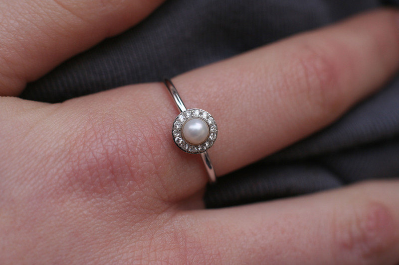 Pearl And Diamonds Wedding Ring, Halo Engagement Ring