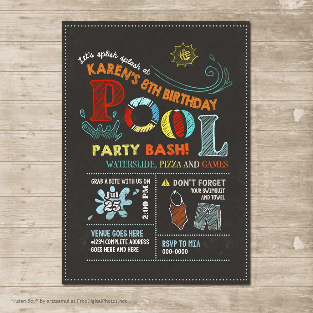 Pool Party Invitation Waterslide Invite Swimming Chalkboard Birthday