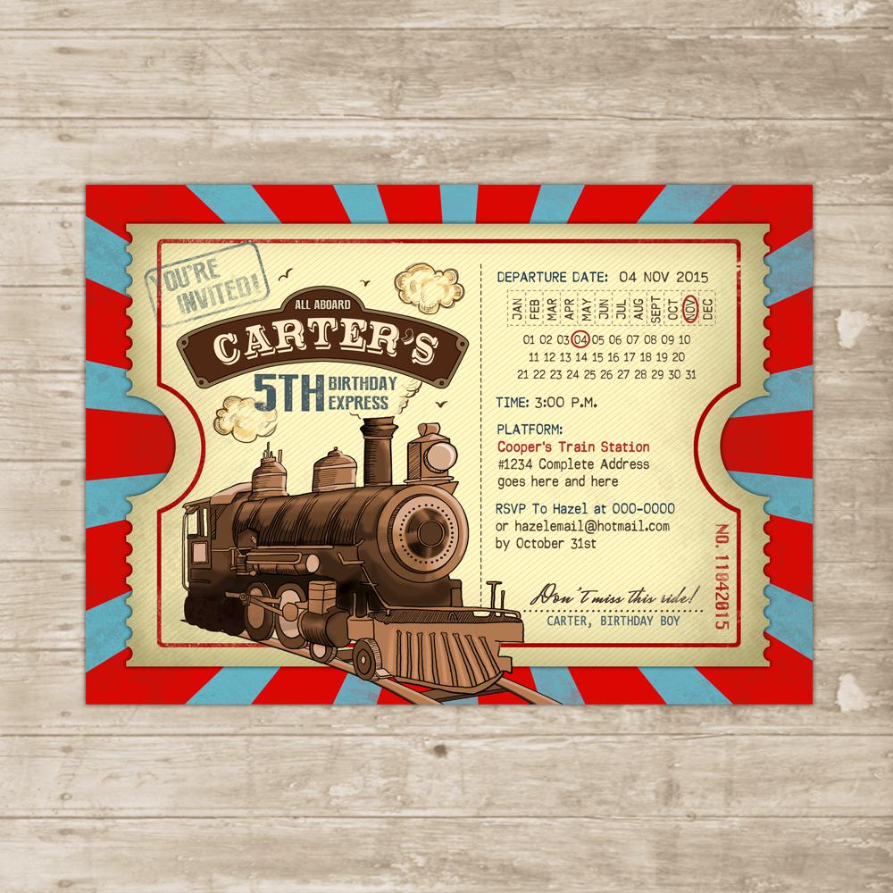 Vintage Train Invitation Steampunk Birthday Invite Locomotive Ticket Red Teal Card