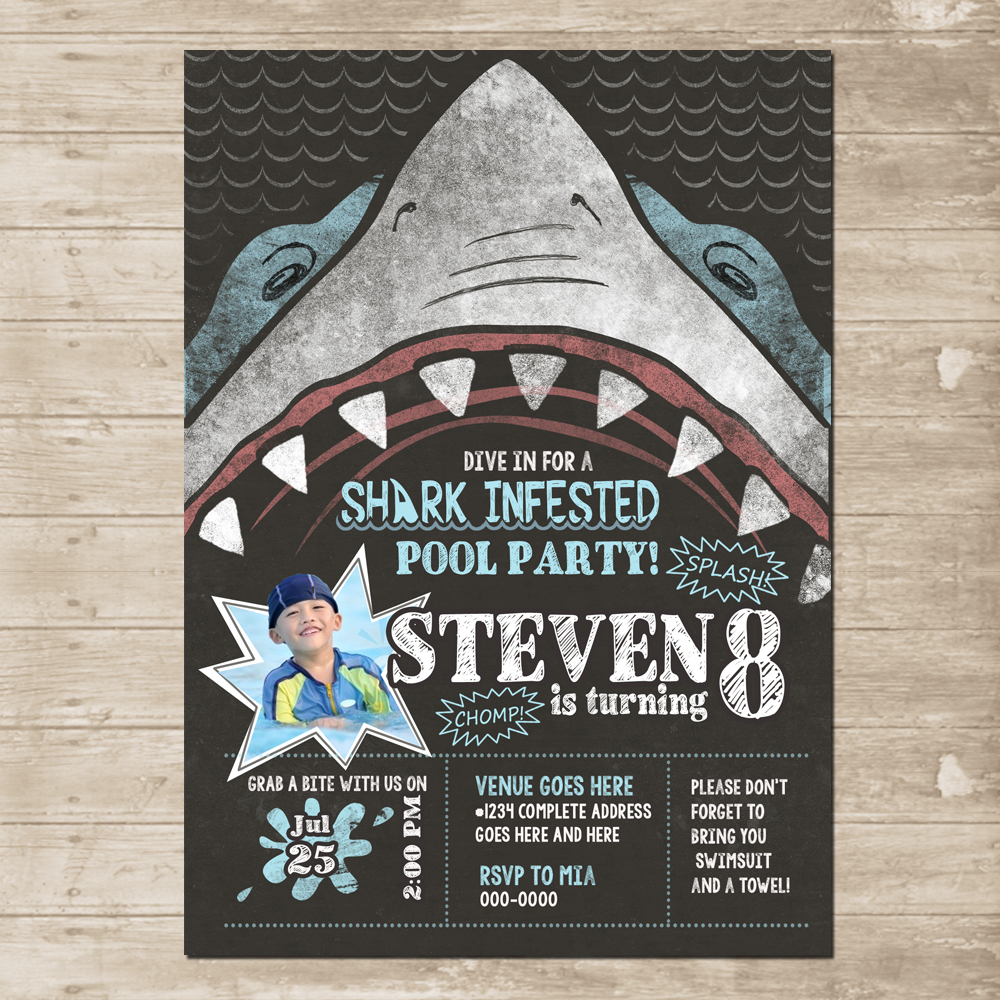 shark party invitation chomp skark attack birthday card invite pool
