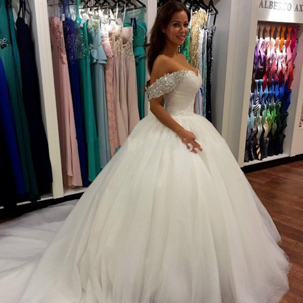 Off Shoulder Wedding Dress,Ball Gown Wedding Dress, Sweetheart ...