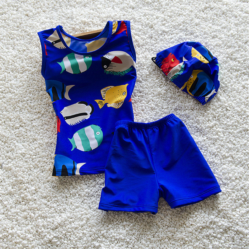 Summer Style Cool Boys Swim Suit 2016 Lovely Kids Cartoon Two Piece Suits  Children Swimming Wear with Swimming Cap on Storenvy b328dbb13b31