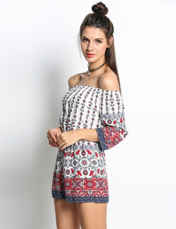 3aa0bad3c9b FREE SHIPPING  Bohemia Floral Off Shoulder 3 4 Sleeve Jumpsuit Romper -  Thumbnail 1 ...