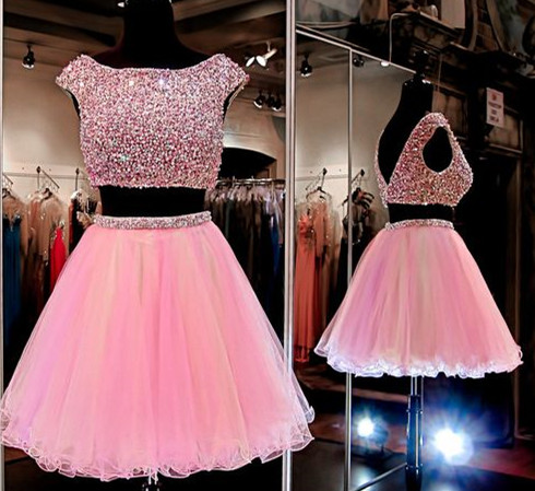 Solo Dress Pink Homecoming Dress2 Piece Homecoming Dressesbeading