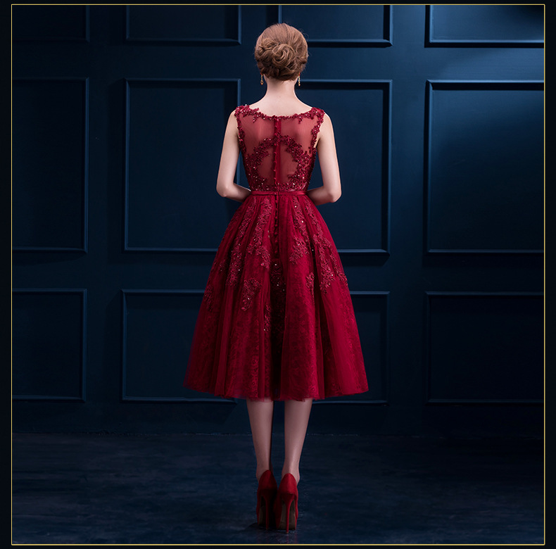 d02e7be8420 J31 Robe De Soiree New Wine Red Lace Embroidery Sleeveless A-line Evening Dresses  Bride