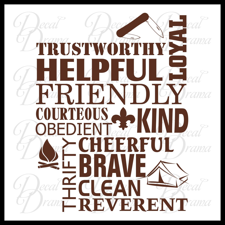 Boy Scout Law Trustworthy Loyal Helpful Friendly Courteous