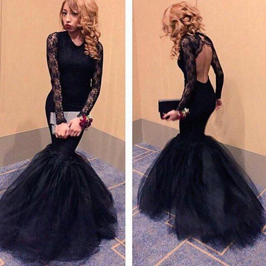 Black Mermaid Long Prom Dresses
