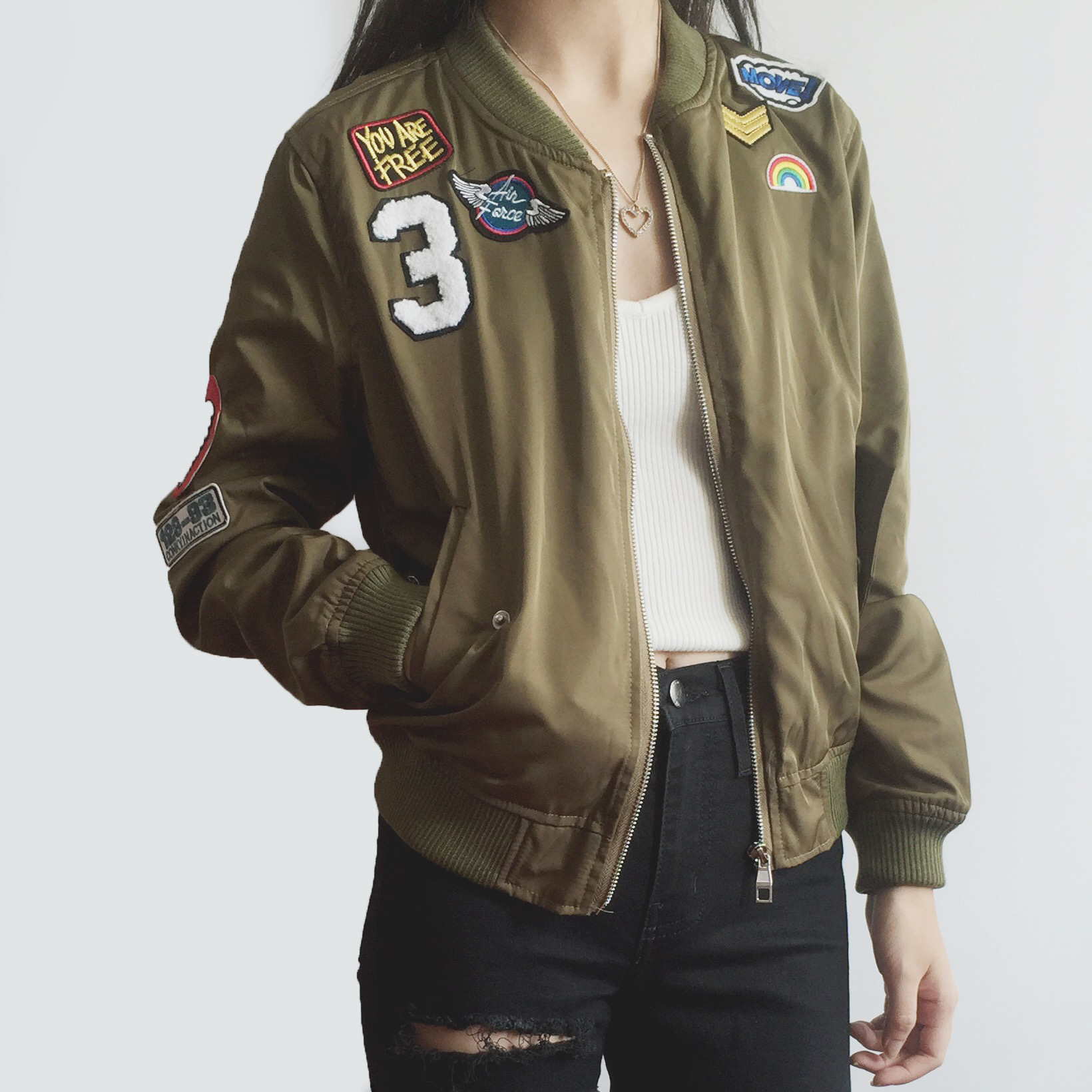 187a0bb40 Air Force Patch Bomber Jacket (Olive) from Megoosta Fashion