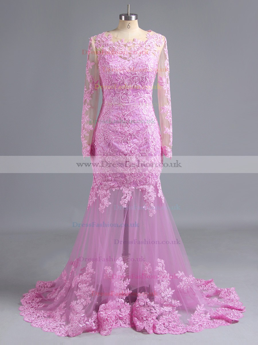 Mermaid V-neck Lilac Tulle Appliques Lace Long Sleeve Prom Dress ...