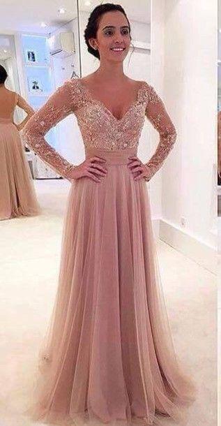 long sleeve prom dress,v neck prom dress,tulle prom dress,long ...