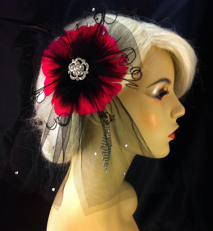 Feather Hair Clip Bridal Hair Flower Bridal Fascinator Wedding Hair Flower Bridal Headpiece 1920s Headpiece Hot Pink Color Choice