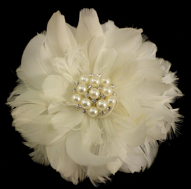 Feather Hair Clip Bridal Hair Flower Bridal Fascinator Wedding