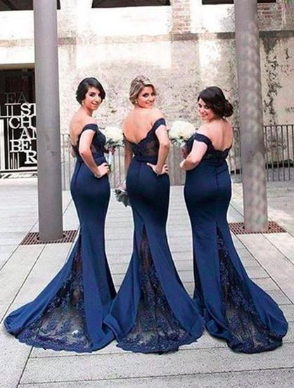 Bridesmaid Dress,Navy Blue Lace