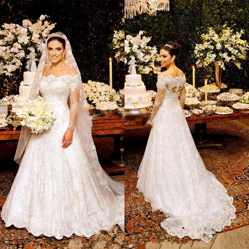 Lace High Neck Long Sleeve Lace Muslim Wedding Dresses Lebanon Tulle