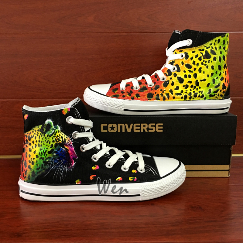 00c694d8a88f3 Colorful Leopard Print Original Design Hand Painted Shoes Converse All Star  Custom Sneakers high classic Skateboarding Shoes